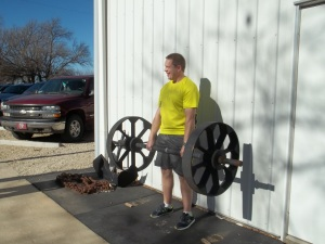 Deadlifting a light replica of Apollon's Wheels at the Dino Gym last Saturday.